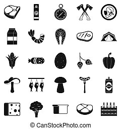 Camping trip icons set, simple style
