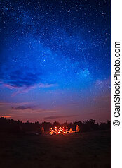 Camping under star sky - Camping fire under the amazing blue...
