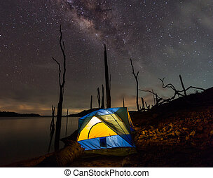 Camping under the clear milky way