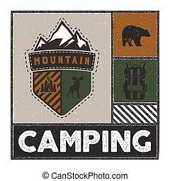 camping., urso, style., montanha, incomum, vindima, -, veado, retro, desenhado, logotipo, estoque, mochila, emblema, citação, ilustração, mão, aventura, acampamento, remendo, vetorial, ao ar livre