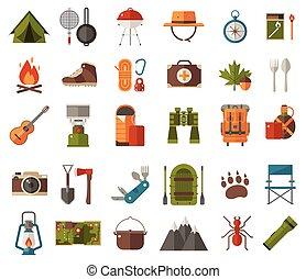 camping, vecteur, icônes