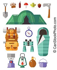 camping, vecteur, icônes, collection.