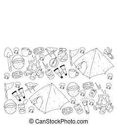 Camping vector illustration. Travel outdoor adventure