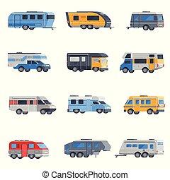 Camping Vehicles Icon Set