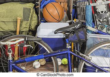 camping, vendange, porté, équipement sports, tas