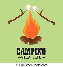camping wild life with campfire vector illustration design