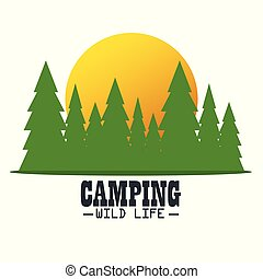 camping wild life with forest scene vector illustration...