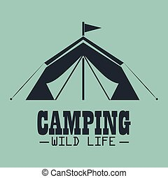 camping wild life with tent vector illustration design