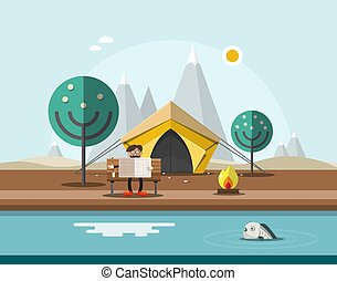 Camping with Man on Bench in front of Tent Reading Newspapers with Fish on Lake on Foreground and Mountains on Background. Nature landscape Vector Flat Design Illustration.