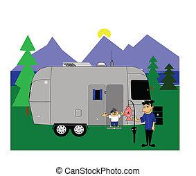 camping with retro rv
