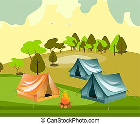 Camping with summer forest