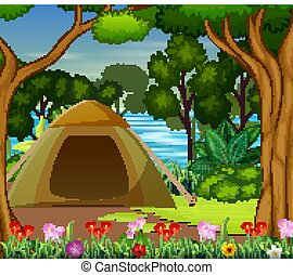 Camping zone on the beautiful landscape