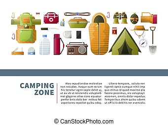 Camping zone promotional poster with hiking equipment set