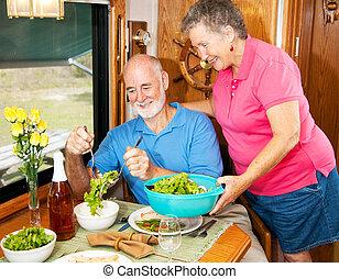 campingbus, ältere, -, salatschüssel