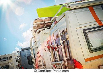campingbus, motorhomes, park