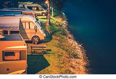campingbus, park, camping, nacht