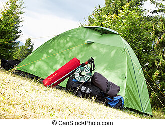 Camping.Mountain Backpack and Tent