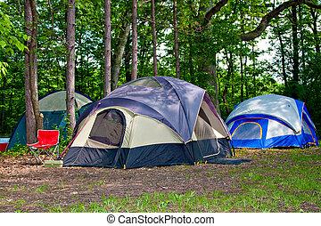 campingplats, camping, tält