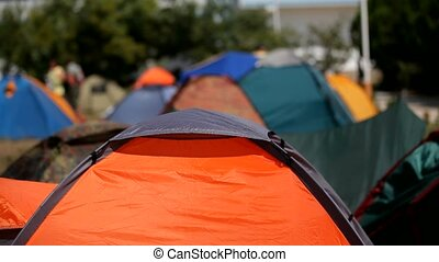 campingplatz, in, schlechtes wetter