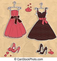 campione, di, donne, vestiti, con, scarpa
