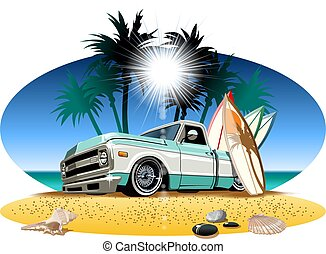 campista, caricatura, retro, pickup