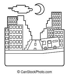 campista, paseos, por la noche, en, ciudad, concepto