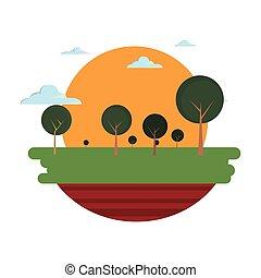 campo, árvores, nuvens, natural, paisagem