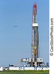 campo, aceite, verde, torre de perforación