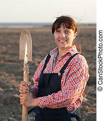 campo, agricultor, femininas, arado