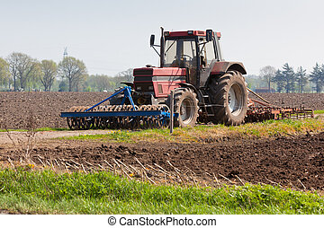campo, Agricultura,  -,  tractor