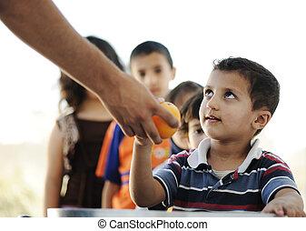 campo, alimento, refugiado, humanitario, hambriento, distribución, niños