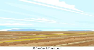 campo, arado, paisagem, rural