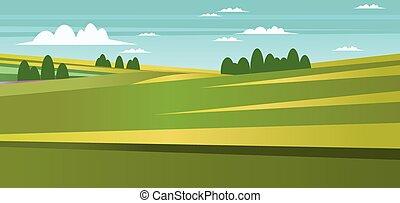 campo, astratto, paesaggio verde