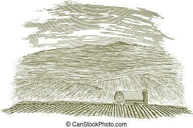 campo azienda agricola, woodcut, granaio
