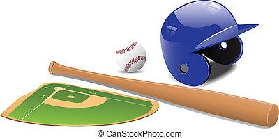 campo béisbol, pelota, y, accessorie