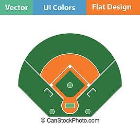 campo béisbol, vista aérea, icono