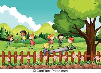 campo, bambini giocando