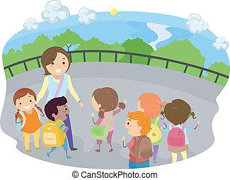 campo, bambini, viaggio