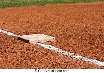 campo, base, beisball, tercero