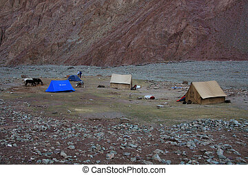 campo, base, india, himalaya