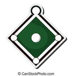 campo, baseball, icona