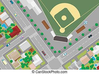campo, baseball, outskirts
