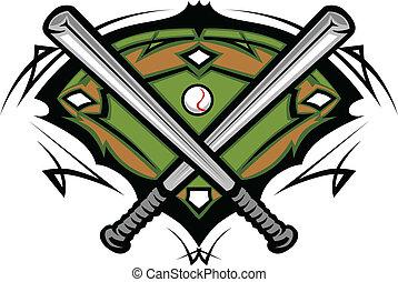 campo, bastões baseball, cruzado
