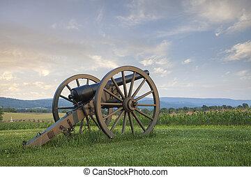 campo batalha, maryland, antietam, (sharpsburg), canhão