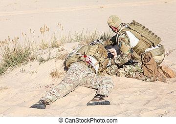 campo batalha, medicina, em, a, deserto