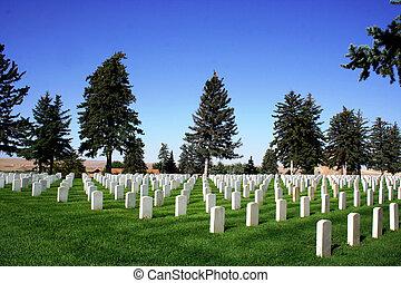 campo batalha, pequeno, cemitério, nacional, -, bighorn