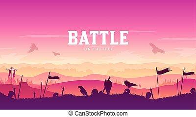 campo batalha, silueta, ao redor, experiência., armadura, cavaleiro, disperso, cena, ilustração, braços, campo, medieval, pôr do sol, luta, histórico, militar, batalha, silhuetas, guerra, paisagem, design.