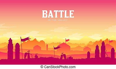 campo batalha, silueta, ao redor, experiência., armadura, disperso, cena, ilustração, braços, campo, medieval, pôr do sol, luta, histórico, militar, batalha, silhuetas, sparta?, guerra, paisagem, design.
