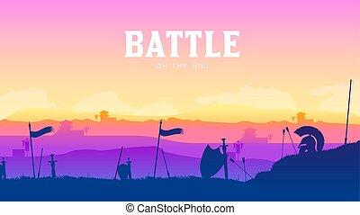campo batalha, silueta, ao redor, experiência., armadura, disperso, cena, ilustração, braços, campo, medieval, roma, pôr do sol, luta, histórico, militar, batalha, silhuetas, guerra, paisagem, design.