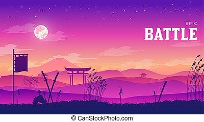 campo batalha, silueta, ao redor, experiência., armadura, disperso, cena, ilustração, braços, campo, medieval, pôr do sol, luta, histórico, militar, batalha, silhuetas, samurai, guerra, paisagem, design.